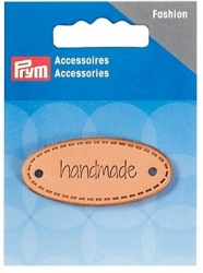 prym handmade label leather natural oval